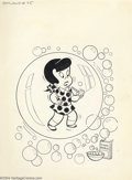 Original Comic Art:Covers, Warren Kremer - Original Cover for Little Dot Dotland #35 (Harvey,1968 ). Dot has trapped herself in a plastic bubble in pu...