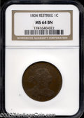 Large Cents: , 1804 1C Restrike MS64 Brown NGC. According to Breen, ...