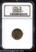 Indian Cents: , 1865 1C Plain 5 MS65 Red and Brown NGC. A well struck Gem ...