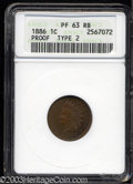 Proof Indian Cents: , 1886 1C Type One PR63 Red and Brown ANACS. Patches of ...