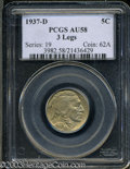Additional Certified Coins: , 1937-D 5C Three-Legged Nickel MS61 PCI (AU58). Attractive ...