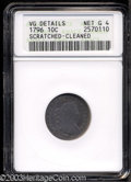 Early Dimes: , 1796 10C --Scratched, Cleaned--ANACS. VG Details, Net Good 4....