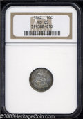 Seated Dimes: , 1862 10C MS65 NGC. Rich russet and turquoise toning ...