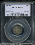 Seated Dimes: , 1876-CC 10C MS65 PCGS. Type One Reverse. The letter Es in ...