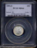 Barber Dimes: , 1892-S 10C MS64 PCGS. Pale russet patina clings to both ...