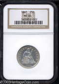 Seated Quarters: , 1862 25C MS64 NGC. Boldly struck and very close to being ...