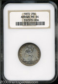 Seated Quarters: , 1873 25C Arrows MS64 NGC. Freckles of tobacco-brown ...