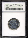 Proof Barber Quarters: , 1904 25C PR63 ANACS. A bright chrome appearance shows ...