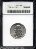 Washington Quarters: , 1932-D 25C MS60 ANACS. Sharply struck and mostly untoned ...