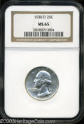 Washington Quarters: , 1936-D 25C MS65 NGC. Mostly brilliant and very flashy ...
