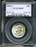 Washington Quarters: , 1954-S 25C MS67 PCGS. Highly lustrous with a significant ...
