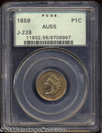 1859 P1C Indian Cent, Judd-228, Pollock-272, R.1, AU55 PCGS. A transitional pattern with the obverse of 1859 paired with...