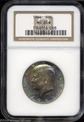 Kennedy Half Dollars: , 1964 50C MS65 ★ NGC. Type Two Reverse. Peach, rose, and ...