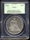 Seated Dollars: , 1860 $1 AU53 PCGS. A sharply struck and lightly toned ...
