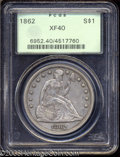 Seated Dollars: , 1862 $1 XF40 PCGS. A widely melted Civil War era dollar ...
