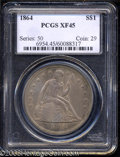 Seated Dollars: , 1864 $1 XF45 PCGS. Medium steel-gray and golden surfaces ...