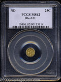 California Fractional Gold: , Undated 25C Liberty Round 25 Cents, BG-221, R.3, MS62 PCGS.