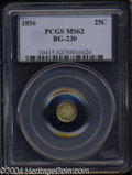 California Fractional Gold: , 1856 25C Liberty Round 25 Cents, BG-230, Low R.4, MS62 PCGS....