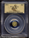 California Fractional Gold: , 1853 50C Liberty Round 50 Cents, BG-428, R.3, MS62 PCGS. ...