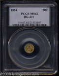 California Fractional Gold: , 1854 50C Liberty Round 50 Cents, BG-431, Low R.5, MS62 PCGS....