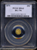 California Fractional Gold: , 1875 25C Indian Octagonal 25 Cents, BG-796, R.5, MS63 PCGS.