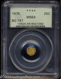 California Fractional Gold: , 1875 25C Indian Octagonal 25 Cents, BG-797, Low R.4, MS64 ...