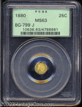 California Fractional Gold: , 1880 25C Indian Octagonal 25 Cents, BG-799J, R.3, MS63 PCGS....