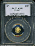 California Fractional Gold: , 1871 25C Liberty Round 25 Cents, BG-813, R.3, MS64 PCGS. ...