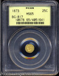 California Fractional Gold: , 1873 25C Liberty Round 25 Cents, BG-817, R.3, MS65 PCGS. ...