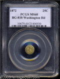 California Fractional Gold: , 1872 25C Washington Round 25 Cents, BG-818, Low R.4, MS60 ...