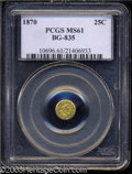 California Fractional Gold: , 1870 25C Liberty Round 25 Cents, BG-835, R.3, MS61 PCGS. ...
