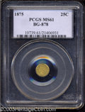 California Fractional Gold: , 1875 25C Indian Round 25 Cents, BG-878, R.3, MS61 PCGS. ...