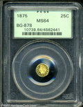 California Fractional Gold: , 1875 25C Indian Round 25 Cents, BG-878, R.3, MS64 PCGS. ...