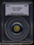 California Fractional Gold: , 1876 50C Indian Round 50 Cents, BG-1038, R.4, MS62 PCGS. ...