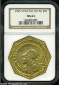 Commemorative Gold: , 1915-S $50 Panama-Pacific 50 Dollar Octagonal MS63 NGC. ...