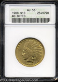 1908 $10 No Motto AU53 ANACS. A gently circulated example with no serious marks and appealing reddish patina gathering a...