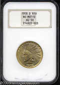 Indian Eagles: , 1908-D $10 No Motto AU50 NGC. High point rub is noted on ...