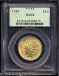 Indian Eagles: , 1914 $10 MS64 PCGS. Attractive, rich golden color and a ...