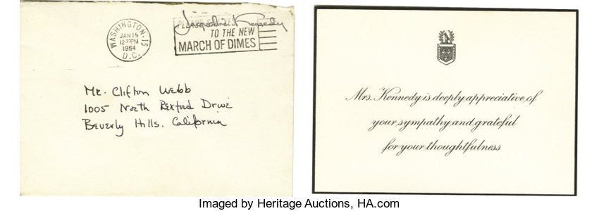 Thank You Card From Jackie Kennedy to Clifton Webb  A 5