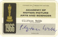 Movie/TV Memorabilia:Memorabilia, Clifton Webb Signed AMPAS Card. A 1966 Academy of Motion PictureArts and Sciences membership card made out to Clifton Webb,...