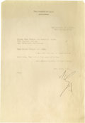 "Movie/TV Memorabilia:Autographs and Signed Items, Alla Nazimova Signed Letter. A single page, typed letter onpersonal ""Garden of Alla"" stationery, dated February 24, 1927, a..."