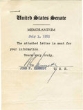 "Autographs:U.S. Presidents, Early John F. Kennedy Typed Note Signed ""John Kennedy"", one page, 3.75"" x 5.25"", Washington, D.C., July 3, 1953. It read..."