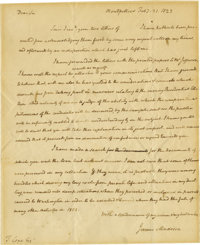 James Madison Excellent Autograph Letter Signed: A year before the 1824 Presidential election, Madison writes an old fri...