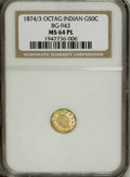 California Fractional Gold: , 1874/3 50C Indian Octagonal 50 Cents, BG-943, High R.4, MS64Prooflike NGC. The obverse field is remarkably mirrored. The r...