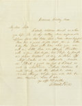Autographs:U.S. Presidents, Franklin Pierce Mildly Depressing Family Autograph Letter Signed: The future President tells his wife's sister that his olde...