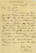 Autographs:U.S. Presidents, Abraham Lincoln Excellent Autograph Letter Signed: PresidentLincoln obliges an important railroad man who wishes his son ap...