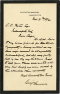 Autographs:U.S. Presidents, Benjamin Harrison Poignant Black-Bordered Autograph Letter Signed: A week after his wife died in the White House, President ...