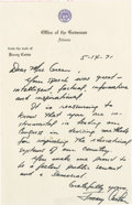 Autographs:U.S. Presidents, Jimmy Carter Outstanding Autograph Letter Signed: Governor Carter commends Democratic Congresswoman Green on her efforts to ...