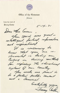 Jimmy Carter Outstanding Autograph Letter Signed: Governor Carter commends Democratic Congresswoman Green on her efforts...