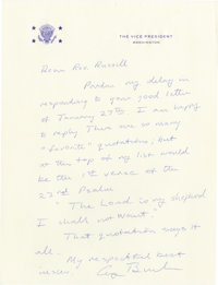"""George H.W. Bush Religious Autograph Letter Signed: """"There are so many 'favorite' quotations; but at the top of my..."""